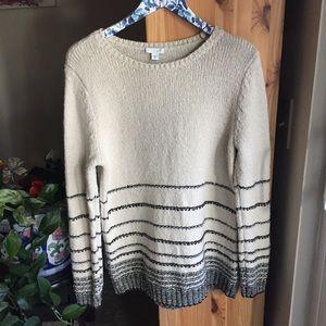 J. Jill Cotton/Wool Blend Striped Sweater, Medium